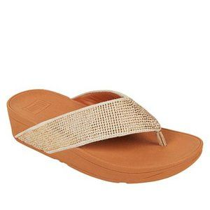 New FitFlop Ritzy Crystal Toe Post Sandal Gold Mix